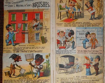 vintage Victorian trade card john l whiting and sons brushes note this piece offensive language 1880 s