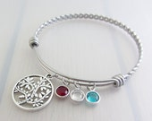 Custom Birthstone Tree Charm Stainless Steel Bangle, Personalised Silver Family Tree Bracelet, Adjustable Twist Bangle, Mother Bangle