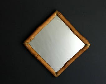 Vintage Wood Log Framed Wall Mirror WIth Gold Painted Corners Cottage Cabin Decor