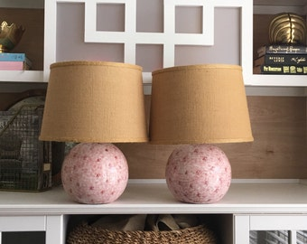 Vintage Lamps Pair Atomic Age Blush Sphere Lighting 1972 Retro Boudoir Lighting Home Decor Raspberry Splatter Pink Mid Century Mod Lamps