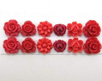 12 pcs Resin Flower Cabochons Assorted Sizes Sampler Pack - Reds Mix - Small Flowers (version 2)