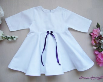 Short Christening Gown satin bow 2, 100% cotton, various sizes