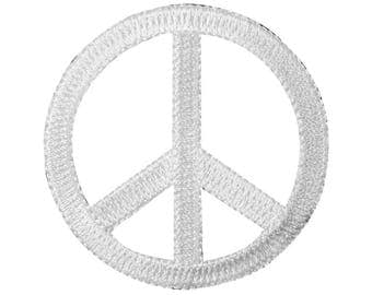 2.25 Inch Peace Sign Die-Cut White Iron-On Patch Groovy Craft Accessory Applique