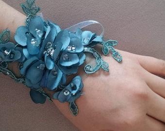 Handmade Unique, Bridal Bracelet, Dark Green Cuff, gift ideas, Wedding Jewelry, For Her, Gifts, Wedding accessories, Flower Girl Bracelet