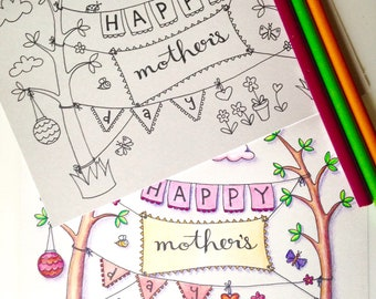 Mother's Day Forest 5x7 Coloring Card