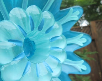 Glass Garden Decorations - glass plate flower - hand painted garden art - repurposed glass garden art, fence decor, garden gift