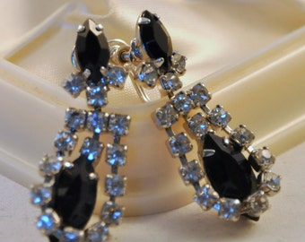 Vintage Rhinestone Earrings Black and Clear with Gorgeous Ovals - Sparkly  for Wedding or Special Event