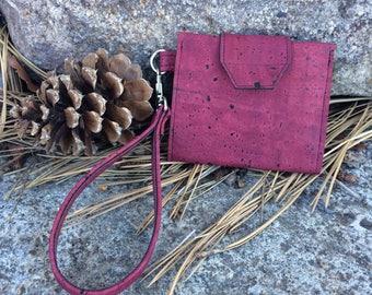 Cork Wallet / Slim Wallet / Key Fob Wallet / Bifold Wallet / Women's Vegan Wallet / Mini Wallet Clutch / Gift for Her / Best Friend Gift