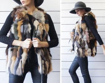 Vintage colorful genuine fur fuzzy patchwork boho sleeveless hip length sleeveless jacket vest coat S