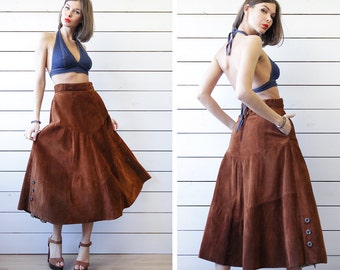 70s vintage heavy brown real suede leather A line flared ankle length midi skirt S