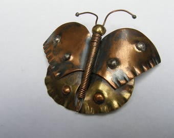 Large Copper Butterfly Brooch Made 1970s by Chicago-area Artisan