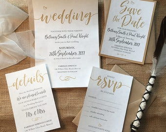 Printed ELEGANT RUSTIC Wedding Invitation Set – Ivory Parchment paper, Gold, Silver, Kraft paper, Burlap wrap, Tag & string