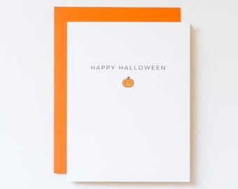 Jack-o-Lantern Card, Halloween Pumpkin, Happy Halloween Card, Cute Halloween Card, Cute Jack-o-Lantern Card, Hand Made Greeting Cards