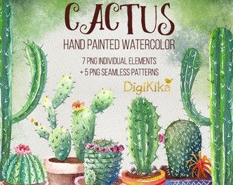 Cactus Clipart, Hand Painted Watercolor - Succulents Clip art, Cactus Graphics