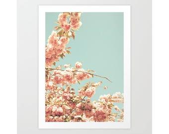 SALE Girl nursery decor girl nursery wall art girl, canvas art, cherry blossom art, large wall art, flower photography, blush pink wall art