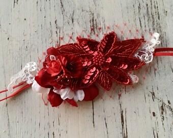 Red beaded vintage style headband