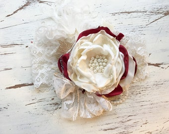 Crimson and ivory holiday headband- Baby Girl Headband- baby Headband- Flower Girl Headband- matilda jane- Persnickety Headband- Photo Prop