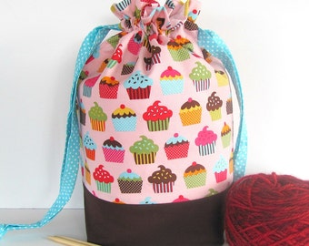 Drawstring Knitting Bag, Medium, Socks Knitting Bag, Cupcakes Project Bag, Yarn Storage, Baby shower gift bag