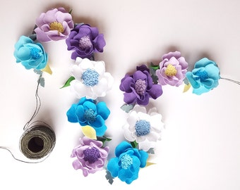 Felt flower garland of turquoise and lavender - felt flower vine, floral garland, felt rose garland, nursery garland,  wedding garland