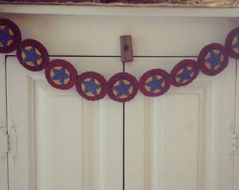 Penny rug garland  bunting American flag country stars