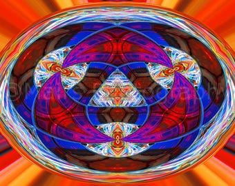 Abstract Prism Lens Glass Red Blue Rust Orange Multi-Colored Patterns Kaleidoscope, Fine Art Photography matted & signed 5x7 print