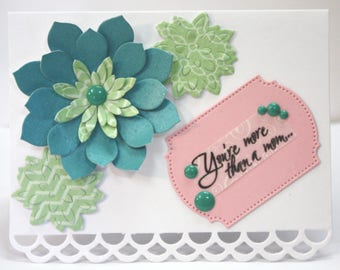 Elegant Mom as Friend Mother's Day Succulent Flower Card Sentiments Inside and Outside Godmother step-mom grandmother aunt