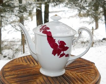Rare Japanese Art Deco Aesthetic Teapot Vintage 1940s Mid Century Danish Modern Hand Painted Burgundy Red Bamboo White Porcelain 24K Gold