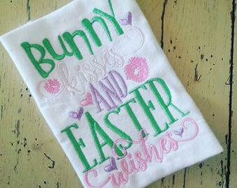 Personalized Easter bunny kisses and Easter wishes machine embroidered shirt...Easter...1st Easter...bunny