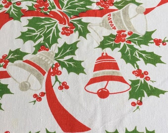Christmas Tablecloth 51 x 58 Holly and Bells
