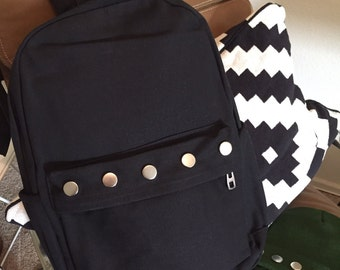 Full Size Black Backpack - Silver Circle Studs - Zip Pockets + Size Pockets