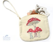 Toadstool Mushrooms Canvas Zip Purse, Makeup Bag, Coin Purse, Small Accessory Pouch