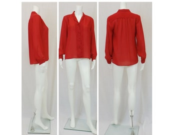 ANN CHABROL True Lipstick Red Blouse Small or Medium
