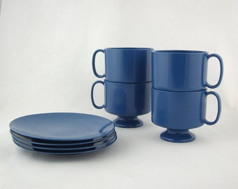 Mid Century Modern Blue Melamine Tulip Base Coffee Cups and Saucers, 1960s, Set of 8