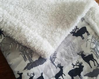 Winter Buck Elk Wool Carseat Blanket Crib Blanket Girl Boy Minky Blanket
