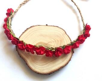 Red Rose Headband, Red Flower Crown, Red Flower Headband,  Flower Girl Hair Crown, Birthday Party Tiara, Wedding Headband Tiara, Bridesmaid
