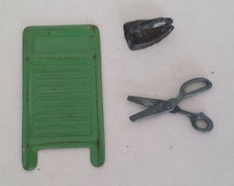 Vintage Dollhouse / Miniature Laundry Accessories -- Green Metal Washboard, Iron and Scissors -- for Play, Display, Diorama, Assemblage