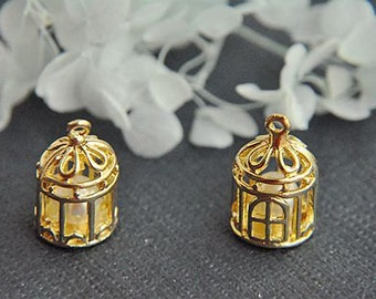 6pcs  gold alloy bird cage  pendant accessories