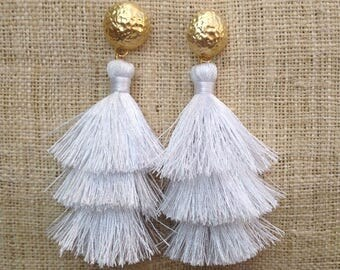 Pure White Layered Tassel Earrings 24K Gold Plated Matte Hammered Gold Dome White Tassle Earrings Silk Tassel Earrings Wedding Summer