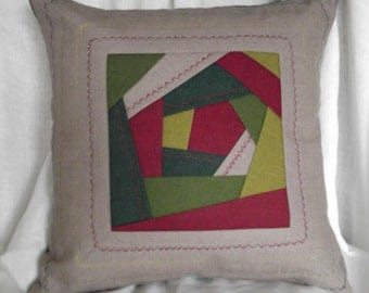 Decorative throw pillow cover organic linen gray green burgundy patchwork quilt cushion case 18 x 18