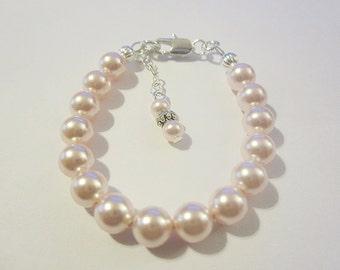 Sterling silver filled newborn babies pearl bracelet