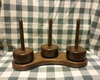Walnut Yarn Caddy , spinning mini yarn holder set of 3 with base.