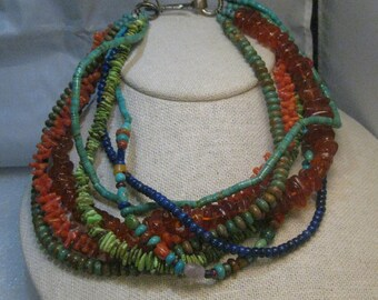 "Southwestern Multi-Strand, Lapis, Amber, Blue and Green Turquoise & Branch Coral Necklace 15"", Heishi too, Lg Hook Sterling Clasp"