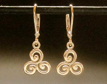 14k Triskele earrings, solid gold spiral leverback dangles, recycled handmade in USA