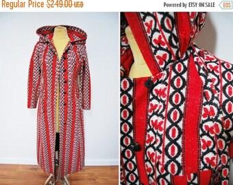 Bringing Home Baby SALE: Vintage 60s 70s Printed Canvas Long Maxi Coat Jacket Hooded Printed Red White Hippie Boho Batik