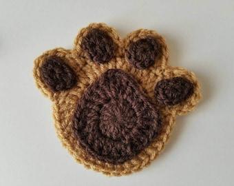 """NEW- 1pc 5"""" Large Crochet PAW PRINT Applique"""