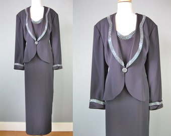 Navy Blue MOB / Vtg 90s / Daymour Couture Navy Blue Mother of the Bride Dress and Jacket / Long Sleeve / Size 16