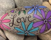 Happy Rock - Love - Hand-Painted Beach River Rock Stone - teal pink blue purple violet daisy daisies