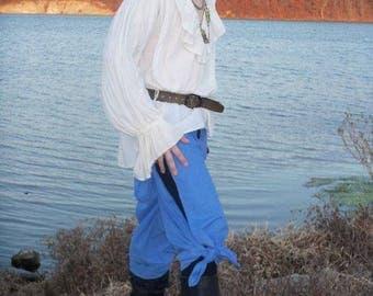 Youth WRAP PANTS Blue Pirate pants Renaissance pants Gypsy LARP with matching bag & sash