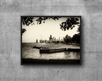 Chicago skyline print - Diversey Harbor - photography art print