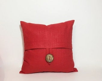 Petite square red linen pillow cover. Button pillow cover. Poppy red linen 12x12 button pillow. home decor accent